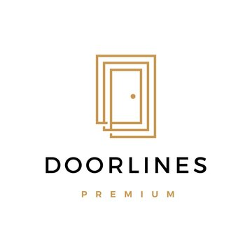 door lines logo vector icon illustration