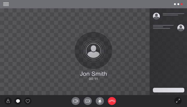 User web video call window chat interface. Concept of social remote media, remote communication, video content.