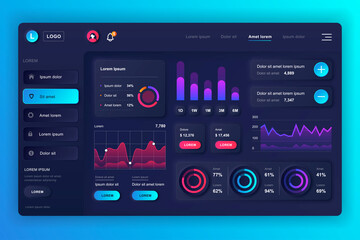 Neumorphic dashboard UI kit. Admin panel vector design template with infographic elements, HUD diagram, info graphics. Website dashboard for UI and UX design web page. Neumorphism style. Wall mural