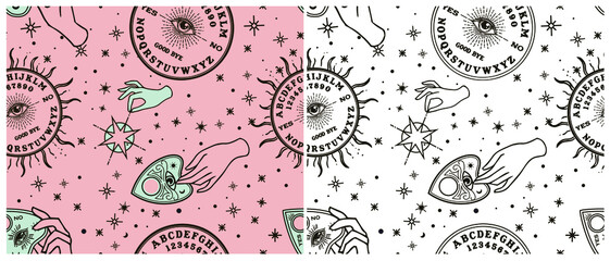Seamless pattern. Vintage Fortune Hands with ouija. Sketch graphic illustration with mystic and occult hand drawn symbols. Vector Halloween illustration, astrological and esoteric concept.