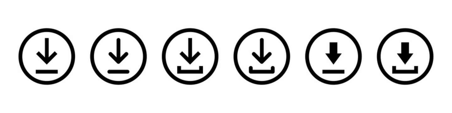 Download icon. Vector isolated elements. Black vector download web sign. Technology concept. Vector black isolated arrows.