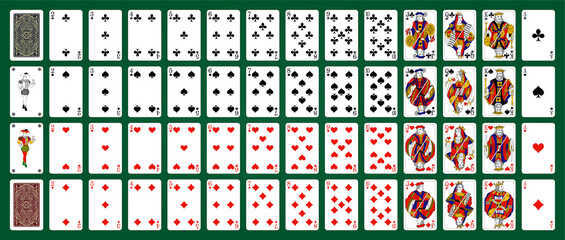 Poker set with isolated cards on green background. 52 French playing cards with jokers.