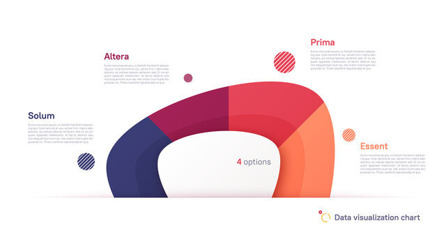 Vector pie chart infographic template in the form of abstract shape divided by four parts