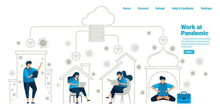 People working inside their homes using cloud server and datacenter technology during the new normal pandemic. Illustration design of landing page, website, mobile apps, poster, flyer, banner