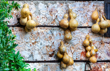 yellow pumpkins on stone wall