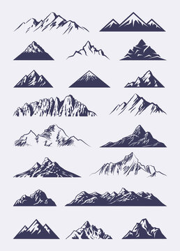 Vector illustrated set featuring various abstract mountains