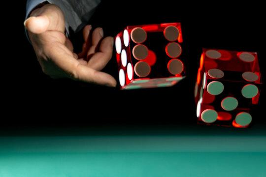 Man gambling at the craps table