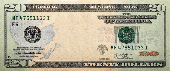 20 dollar bill with empty middle area