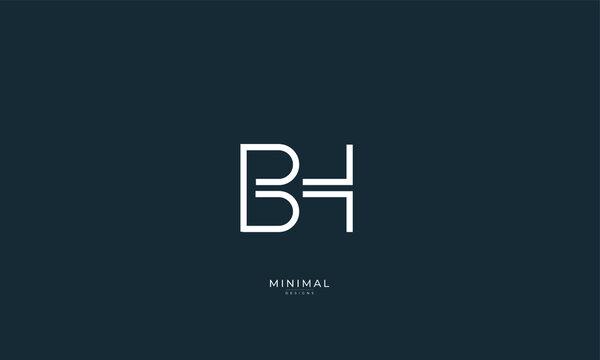Alphabet letter icon logo BH