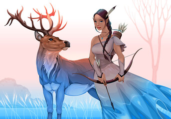 Foto op Plexiglas Kinderkamer Spirit guides in the nature. Vector fantasy illustration representing an archer elf with deer