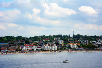 Beach and town of Laboe in the Baltic Sea near Kiel, Germany.