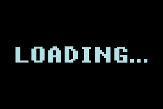 Retro video game LOADING text on  black background, classic loading style,Wait for loading video, Internet with no signal,web design, video editor, game, application design  - vector Illustration