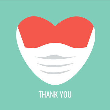 Thank you text to the hospital's medical staff, nurses, doctors & paramedics for the treatment of corona virus. Red heart icon inside medical face mask. we love you symbol flat design. thanks vector