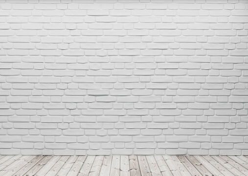 Room perspective, white brick on the wall and wooden floor, mockup template for product display. 3d render.
