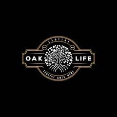 Retro Vintage Family Tree of Life Stamp Seal Emblem Oak Banyan Maple logo design vector