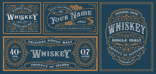 Obraz A set of vintage alcohol label templates for packaging and many other uses. - fototapety do salonu
