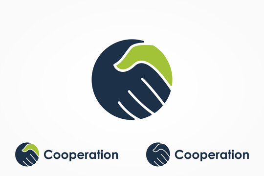 Handshake Logo. Two Hands Make a Deal in Blue and Green Circle Shape isolated on White Background. Usable for Business and Cooperation Logos. Flat Vector Logo Design Template Element.
