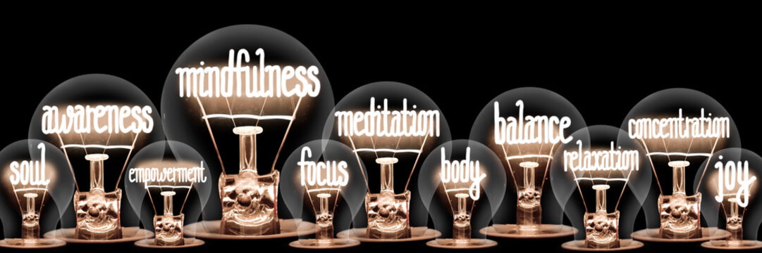 Light Bulbs with Mindfulness Concept