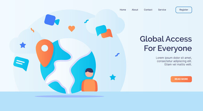 Global access for everyone for campaign web website home homepage landing page template with filled color modern flat style design.