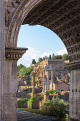 Temple of Castor and Pollux and Arch of Severus monuments, Roman Forum, Rome, Italy