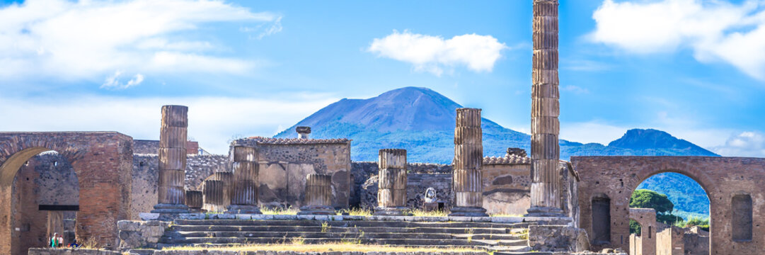 Ancient ruins of Pompeii, Italy. Web banner panoramic view.