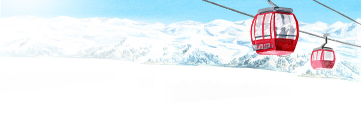 Fototapeta Cableway, funicular in the ski mountain resort, winter recreation and vacation concept. Hand drawn watercolor illustration and panoramic background with copy space obraz
