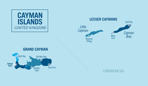 Cayman islands, United Kingdom. Detailed political map with isolated provinces, regions and cities, easy to ungroup. Vector illustration.