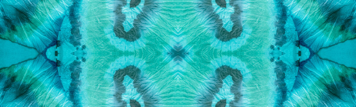Repeated Tie Dye Grunge Design. Seamless Ocean Blue Banner. Breeze Color Tie Dye Fabric Piece. Faded Fabric. Endless Blueish Green Border. Tie Dye Cloth Print. Tie Dye Wash.