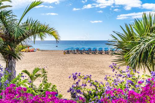 Wall mural Landscape with Puerto del Carmen beach, Lanzarote, Canary Islands, Spain