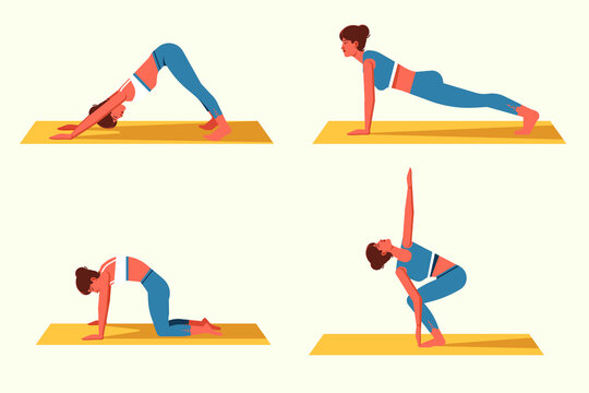A set of women doing fitness or yoga. Beautiful young girls in various gymnastic positions. Vector set of illustrations of women's home sports. Concept of healthy lifestyle.