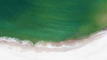 Aerial view of Yantarniy Beach. Baltic Sea. Top view. Kaliningrad region. High quality photo