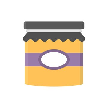 Glass jar with cloth cover tied with ribbon. Flat icon illustration.