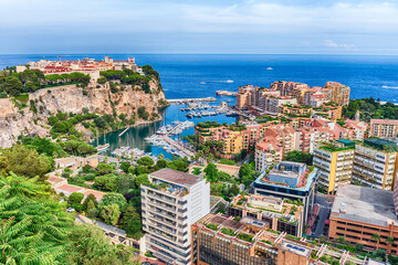 Panoramic view of Monaco City and the port of Fontvieille
