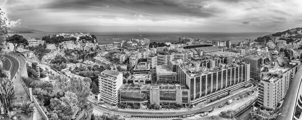 Panoramic view of Fontvieille district in the Principality of Monaco