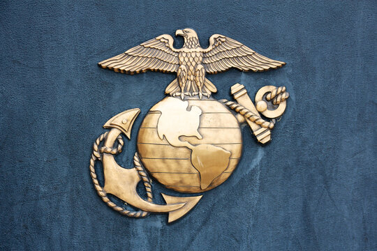 United States Marine Corps Insignia in Gold on Blue at the National Museum of the Marine Corps in Triangle, VA, in 2010.