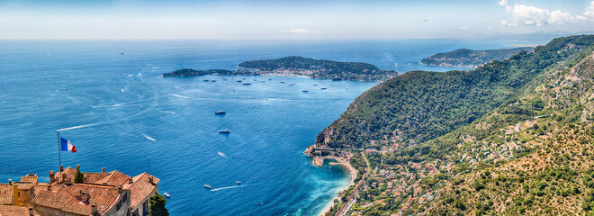 Aerial view from the town of Èze, Cote d'Azur, France