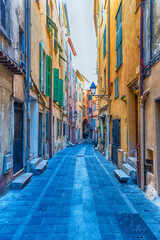 Picturesque streets in the centre of Menton, Cote d'Azur, France