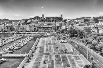 Aerial view over the Old Harbor, Cannes, Cote d'Azur, France