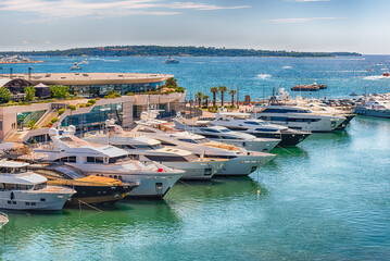 View over luxury yachts in Cannes, Cote d'Azur, France