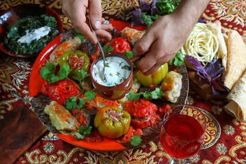 Summer cabbage rolls. Armenian cuisine