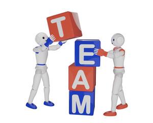 zwei Roboter bauen zusamen einen Stapel aus Buchstabenwürfeln die das Wort Team ergeben.