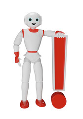 Humanoider Roboter stützt sich auf ein Ausrufezeichen.