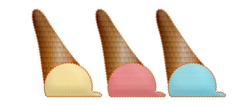 Illustration of colorful ice cream cones