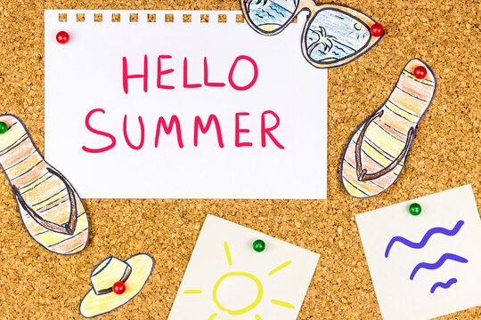 """Summer collage: pinned note """"Hello summer"""" and handmade pictures of sun glasses, hat, slates, sun and waves are nearby"""