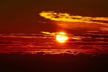 Deurstickers Bruin Sunrise Scenery from Mt Taranaki, New Plymouth - New Zealand; Orange Colour Background
