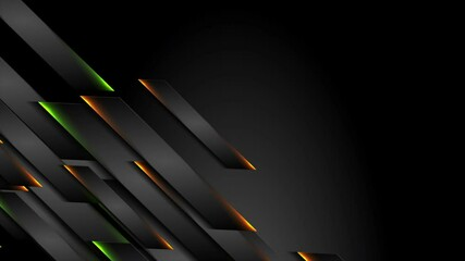 Fotobehang - Futuristic black technology motion background with orange green neon lines. Seamless looping. Video animation Ultra HD 4K 3840x2160