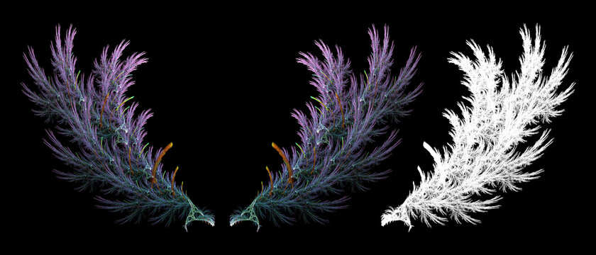 Abstract lines form the wings of fantasy creatures with clipping mask