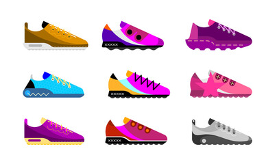 Photo sur Aluminium Art abstrait Modern sports shoes collection. Set of multicolored vector icons isolated on white background.