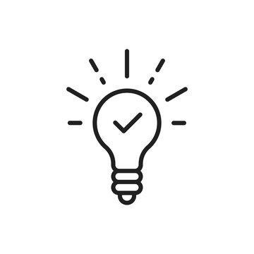 black thin line light bulb with tick