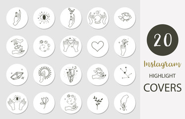 Icon of instagram highlight cover with hand, rose, magic in boho style for social media